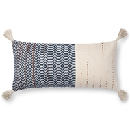 "Magnolia Home by Joanna Gaines 12"" X 27"" Amie Pillow Ivory & Indigo - P1086"