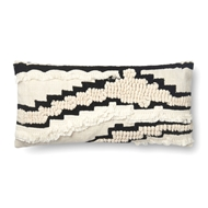 "Magnolia Home by Joanna Gaines 12"" X 27"" Elise Pillow Natural & Black - P1068"