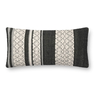 "Magnolia Home by Joanna Gaines 12"" X 27"" Sara Pillow Black & Beige - P1087"