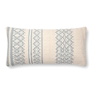 "Magnolia Home by Joanna Gaines 12"" X 27"" Sara Pillow Lt. Blue & Beige - P1087"