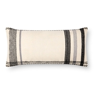 "Magnolia Home by Joanna Gaines 12"" X 27"" Sutton Pillow Ivory & Black - P1088"