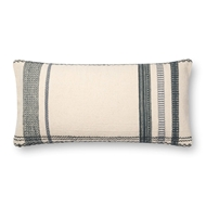 "Magnolia Home by Joanna Gaines 12"" X 27"" Sutton Pillow Ivory & Blue - P1088"