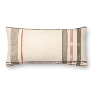 "Magnolia Home by Joanna Gaines 12"" X 27"" Sutton Pillow Ivory & Copper - P1088"