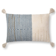 "Magnolia Home by Joanna Gaines 16"" X 26"" Amie Pillow Ivory & Blue - P1086"