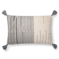 "Magnolia Home by Joanna Gaines 16"" X 26"" Amie Pillow Ivory & Grey - P1086"