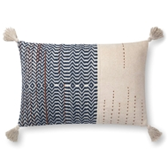 "Magnolia Home by Joanna Gaines 16"" X 26"" Amie Pillow Ivory & Indigo - P1086"