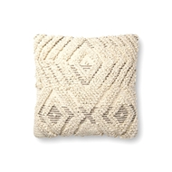 "Magnolia Home by Joanna Gaines 18"" X 18"" Cynthia Pillow Natural & Grey - P1097"