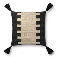 "Magnolia Home by Joanna Gaines 18"" X 18"" Edward Pillow Black & Ivory - P1084"