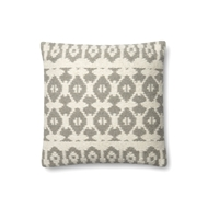 "Magnolia Home by Joanna Gaines 18"" X 18"" Emmie Kay Pillow Grey & Ivory - P1064"