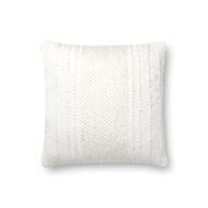 "Magnolia Home by Joanna Gaines 18"" X 18"" Jewel Pillow Ivory & Ivory - P1090"