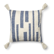 "Magnolia Home by Joanna Gaines 18"" X 18"" Kaylee Pillow Navy & Ivory - P1057"