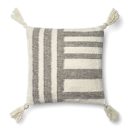 "Magnolia Home by Joanna Gaines 18"" X 18"" Miranda Pillow Grey & Ivory - P1059"
