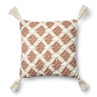 "Magnolia Home by Joanna Gaines 18"" X 18"" Viola Pillow Blush & Ivory - P1055"