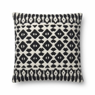 "Magnolia Home by Joanna Gaines 22"" X 22"" Emmie Kay Pillow Black & Ivory - P1064"