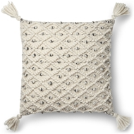 "Magnolia Home by Joanna Gaines 22"" X 22"" Jana Pillow Ivory & Black - P1054"