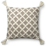 "Magnolia Home by Joanna Gaines 22"" X 22"" Viola Pillow Grey & Ivory - P1055"