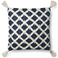 "Magnolia Home by Joanna Gaines 22"" X 22"" Viola Pillow Navy & Ivory - P1055"