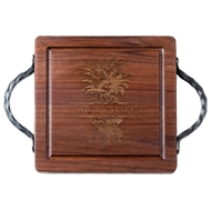 "Maple Leaf 12"" Square Walnut Board with Handles"