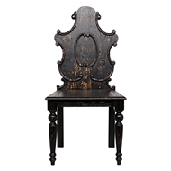 Noir Furniture Antique Black Carved Chair