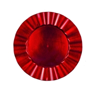 PLD Holiday Red Ruffle Charger Plate
