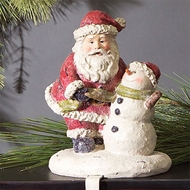 Santa with Snowman Stocking Holder 44699