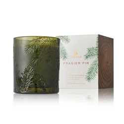 Thymes Frasier Fir Molded Green Glass Candle