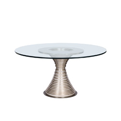 "Vanguard Willow Dining Table With 60"" Glass Top"