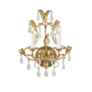 Wildwood Lighting Gold And Crystal Sconce 2214 Metal Leaf On Iron - Two Lights