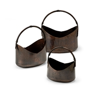 Wildwood Home Handled Planters (Set 3) 297052 Hand Hammered Brass