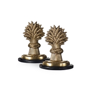 Wildwood Home Wheat Sheaves Bookends (Pair) 300132 Antique Patina On Cast Brass