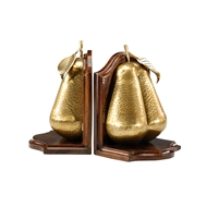 Wildwood Home Pear Bookends (Pair) 300480 Solid Cast Brass With Patina