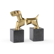 Wildwood Home Stylized Dog Bookends (Pr) 300784 Cast Composite - Antique Brass Finish