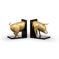 Wildwood Home Piggie Bookends (Pair) 300829 Gold Leaf On Cast Metal