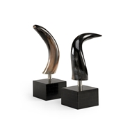 Wildwood Home Mounted Buffalo Horn Bookends 300919 Natural Horn - Polished Nickel