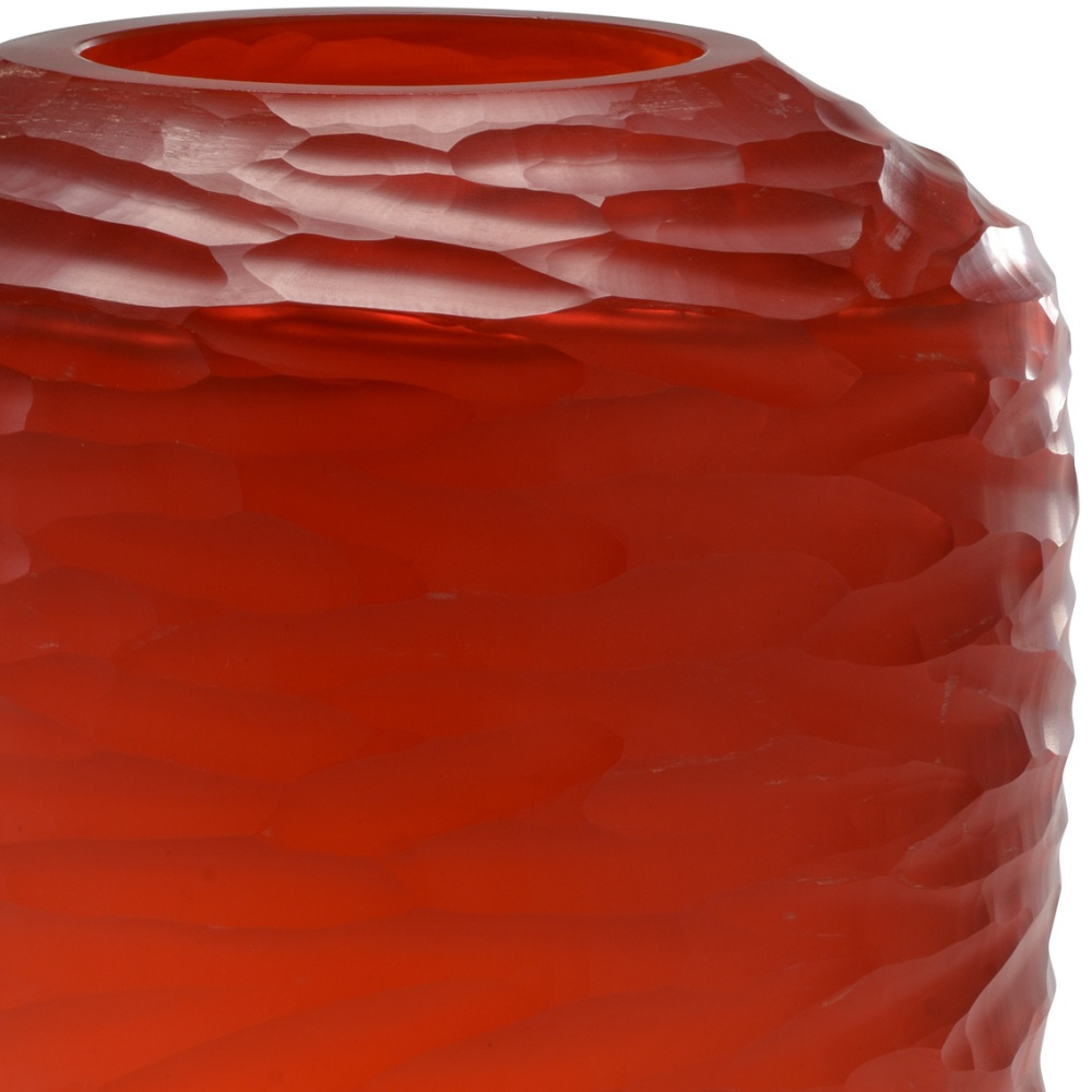 Wildwood Home Sesse Vase (Lg) 301098 Red Finish - Hand Shaved