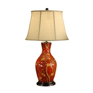 Wildwood Lighting Blossoms On Red Lamp 46472 Porcelain