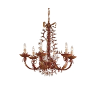 Wildwood Lighting Polychrome Iron Chandelier 7749 Hand Colored With Crystal Buds