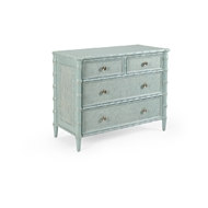 Wildwood Home Borneo Chest - Blue 490380 Hardwood/Caning/Brass