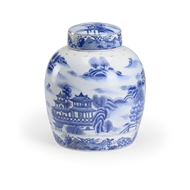 Wildwood Home Chan Covered Jar - Blue 301724 Ceramic