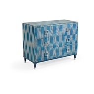 Wildwood Home Florence Chest - Teal 490313 Abaca/Glass/Iron