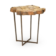 Wildwood Home Fossil Side Table 490295 Petrified Wood