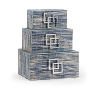 Wildwood Home Waterfront Boxes - Set of 3 301639 Abaca/Wood/Iron