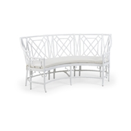 Wildwood Home Wild Palm Settee - White 490467 Rattan/Fabric