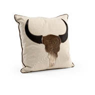 Wildwood Longhorn Pillow 301539 Linen/Hair On Hide/Rhinestones