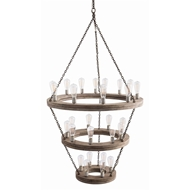 Arteriors Lighting Geoffrey Three Tier Chandelier 84173 - Wood