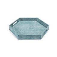 Regina Andrew Home Shagreen Hex Tray - Turquoise