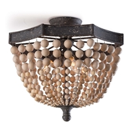Regina Andrew Lighting Wood Beaded Semi Flush Mount