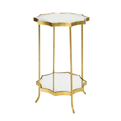 Aidan Gray Home Astre Side Table Two Tier F GOLD Free Shipping - Two tier glass side table