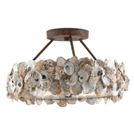 Currey & Company Lighting Oyster Semi-Flush 9000-0265 - Wrought Iron/Oyster Shell/Glass