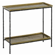 Currey & Company Home Boyles Brass Side Table 4000-0060 - Antique Brass/Black